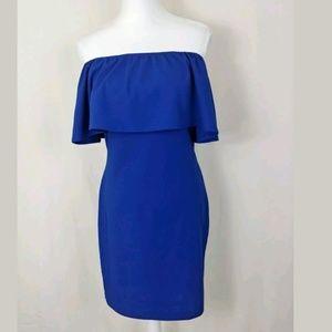 Dresses & Skirts - Cold Off shoulder blue raffle shift dress party S